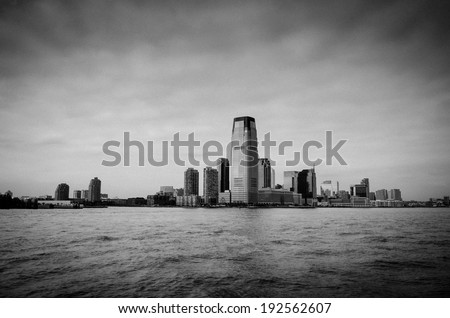 New Jersey Skyline from New York City - stock photo