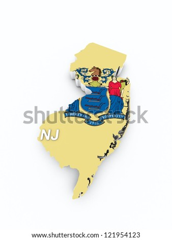 new jersey state flag on 3d map - stock photo