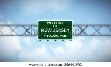 New Jersey USA State Welcome to Highway Road Sign - stock photo