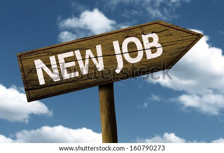 New Job creative sign with clouds as the background - stock photo