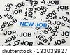 "New job offer. Job interview. Printed paper notes with the word ""Job"" in black ink, and above them, printed note with words ""New Job"". - stock photo"