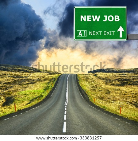 NEW JOB road sign against clear blue sky - stock photo