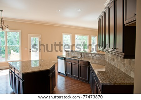 new kitchen in a new house - stock photo