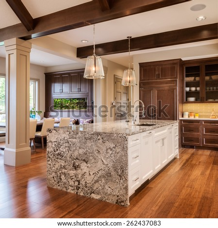 New Kitchen in upscale suburban home - stock photo
