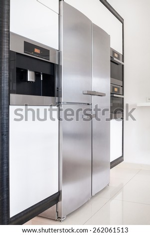New kitchen's devices in modern apartment - stock photo