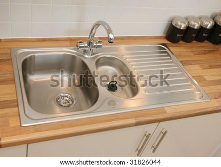 New kitchen sink - stock photo