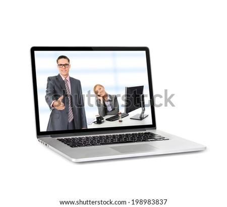 New laptop with a popular design. Isolated on white background - stock photo