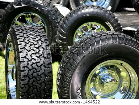 New Large Truck Tires with Chrome Rims - stock photo