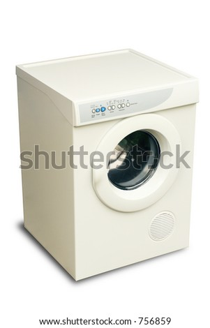 new laundry tumble dryer with clipping path to remove shadow or add another background. - stock photo