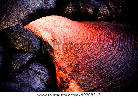 New lava flow at Hawaii Volcano National Park - stock photo