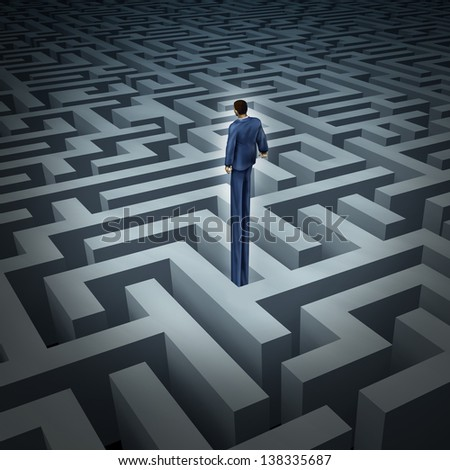 New leadership vision for finding solutions as a businessman who has grown long legs to rise above a complicated maze or labyrinth as a business concept of innovative thinking for financial success. - stock photo