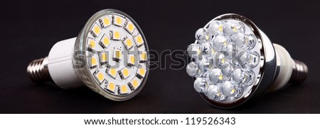 New Led Light isolated on black background - stock photo