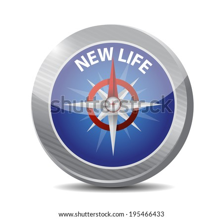 new life compass illustration design over a white background - stock photo