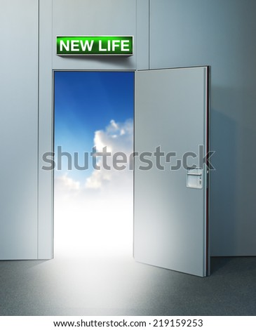New life door to heaven, conceptual image. Leaving all problems behind, walking into a new life, retirement or withdrawal concept. - stock photo