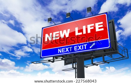 New Life - Red Billboard on Sky Background. Business Concept. - stock photo