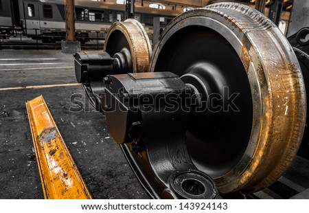 new locomotive wheels - stock photo