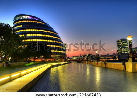 New London city hall at night  - stock photo