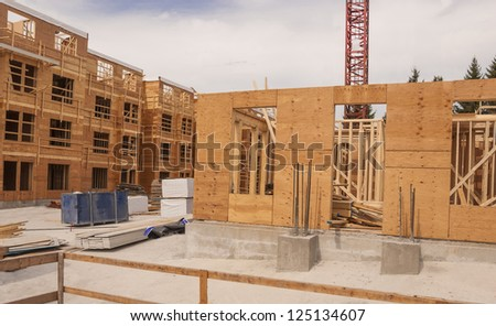 New low rise building construction in Vancouver. Canada. - stock photo