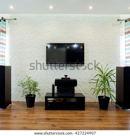 New luxury movie theater in the front room - stock photo