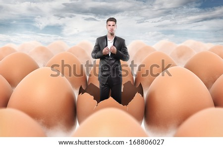 New man born from an egg shell - stock photo