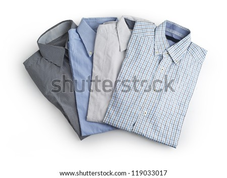 New man's shirt  isolated on white - stock photo