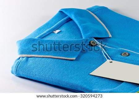 New men's Polo T-shirt and white label - stock photo