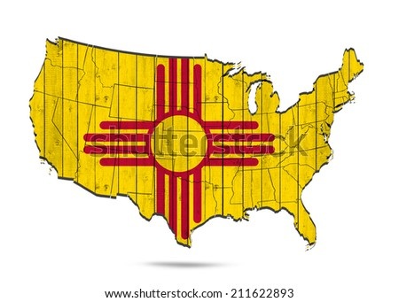 New Mexico flag with America map and white background - stock photo