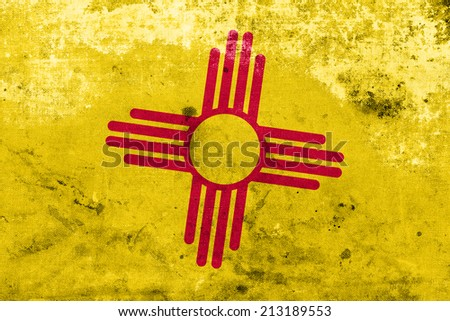 New Mexico State Flag with a vintage and old look - stock photo