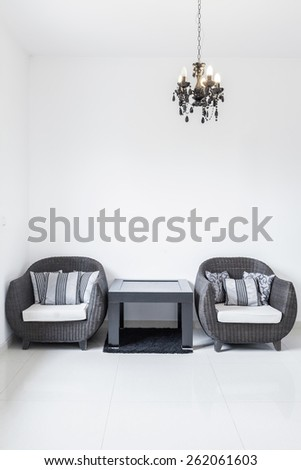 New moddern living room with two chairs - stock photo