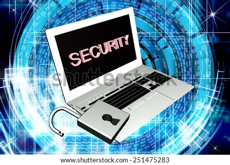 new model laptop with open lock.Security Internet - stock photo