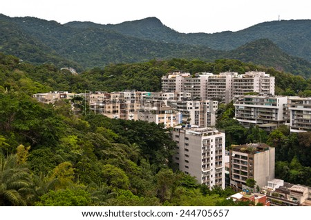 New Modern Apartment Buildings in Leblon, Rio de Janeiro with Mountains in the Horizon  - stock photo