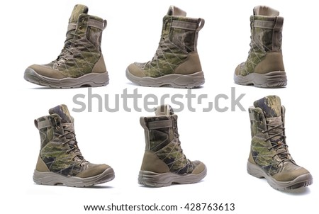 New modern army boots with camouflage print isolated on a white background/Modern army boots.Collage - stock photo