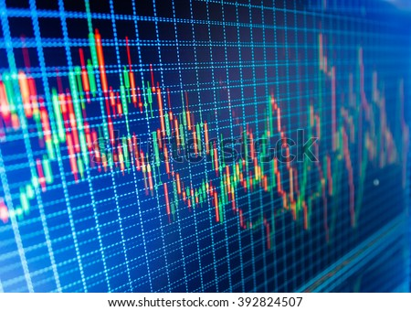 New modern computer and business strategy as concept. Candle stick graph chart of stock market investment trading. Business analysis diagram. Background stock chart. Price chart bars.   - stock photo