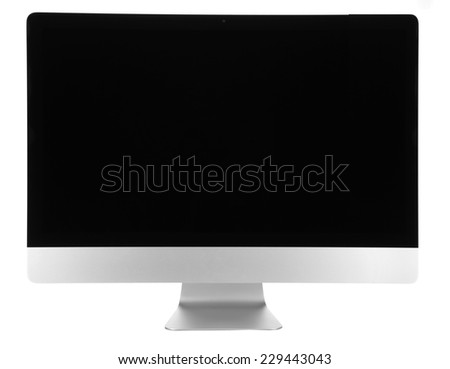 New modern computer, isolated on white - stock photo