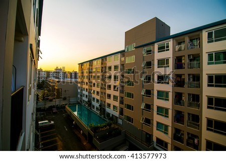 New modern Residential Apartment Block, Real estate in evening sunset - stock photo