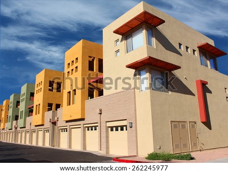 New modern stylish colorful apartment complex - stock photo