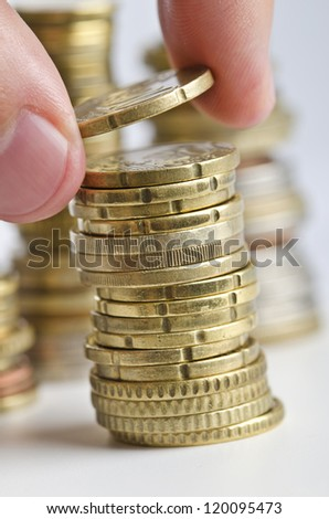 New money added to old savings - stock photo
