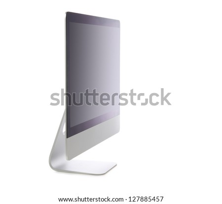 New monitor computer display side view isolated on a white background - stock photo