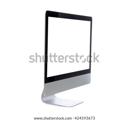 New monitor computer display side view with blank screen isolated on a white background - stock photo