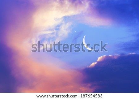 New moon colorful sky background - stock photo
