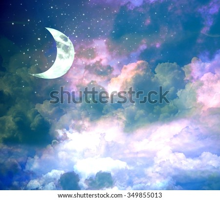 New moon on evening blue sky with shining stars - stock photo