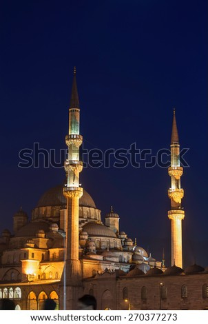 New mosque at night - stock photo