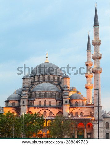 New Mosque (Yeni Camii) is one of the most noticeable attractions of Istanbul. Turkey - stock photo