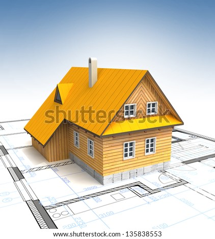 New mountain building with layout plan and clear sky illustration - stock photo
