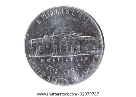 New nickel  back on white - stock photo
