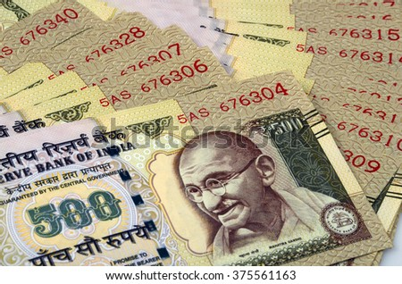 New Numbering on Indian currency - stock photo