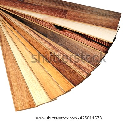 New oak parquet of different colors. Isolated on white background. 3d render - stock photo