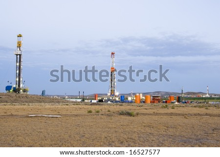 new oil and gas drilling activity in Wyoming - stock photo