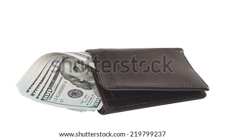 New one hundred dollar banknotes in leather wallet isolated on white background - stock photo