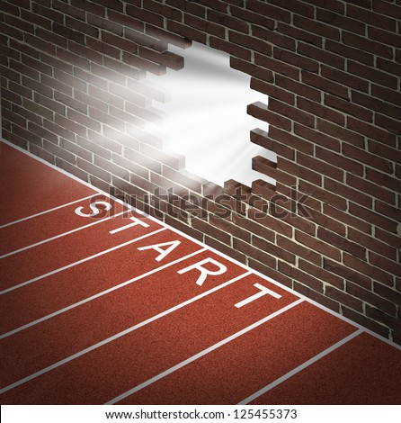 New opportunities and promising business openings at the start of a journey with track and field racing lines and a brick wall with a broken hole glowing with opportunity and success inside. - stock photo